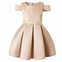 Everweekend Kids Girls Cute Embroidery Princess Dress Off Shoulder Flowers Tutu Lovely Children Fashion Bow Dress