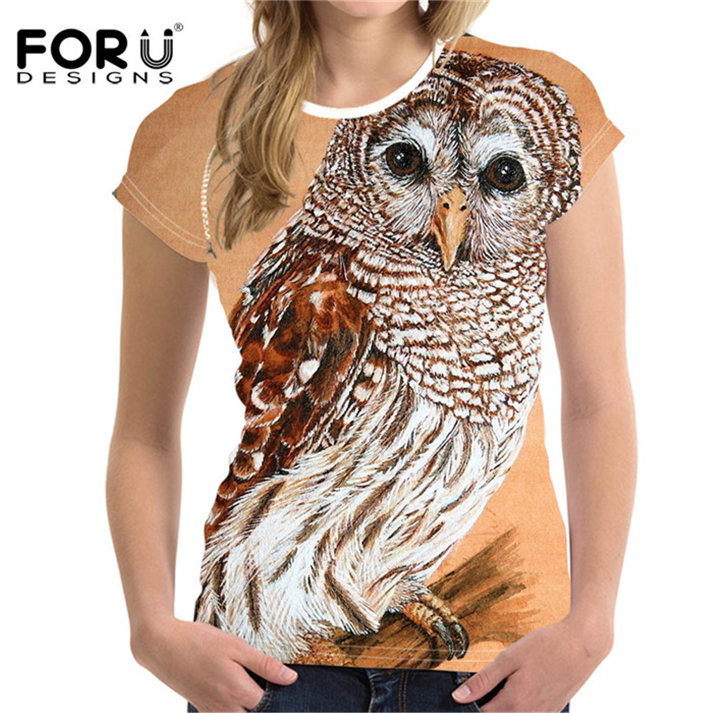 FORUDESIGNS 2018 Summer Women T Shirt 3D Owl Printing Clothes Tee Shirts Animal for Female Tops Boyfriend Style T-shirt Camisas