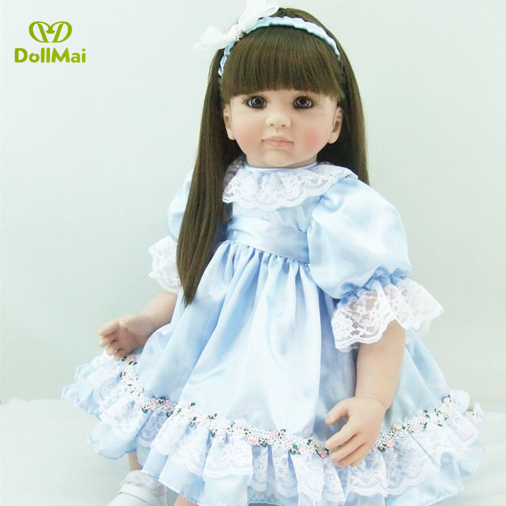 60cm Silicone Reborn Baby Doll Toys Like Real 24inch Vinyl Princess Long Hair Toddler Girl Babies Dolls Lovely Birthday Gift60cm Silicone Reborn Baby Doll Toys Like Real 24inch Vinyl Princess Long Hair Toddler Girl Babies Dolls Lovely Birthday Gift