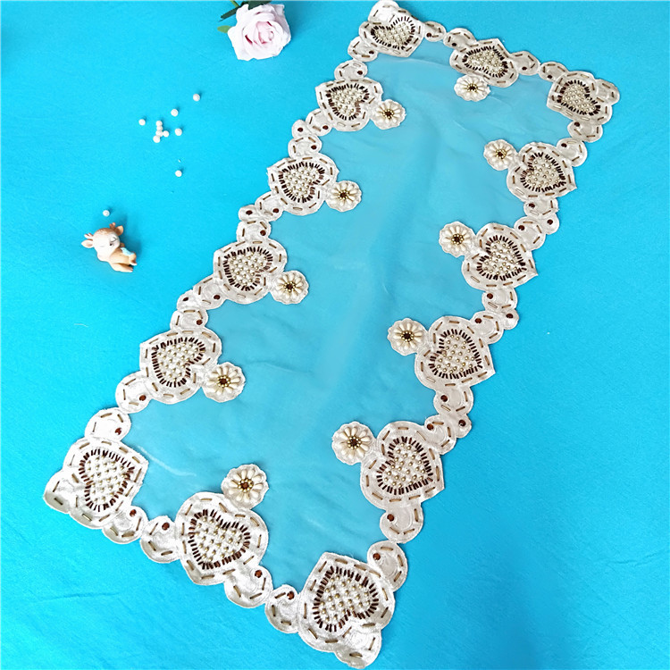 Image 3 - 40x85cm Transparent Mesh Hand studded Cloth Stitching Tablecloth Dressing Table Shoe Cabinet Coffee Sideboard Cover Towel Tapete-in Tablecloths from Home & Garden