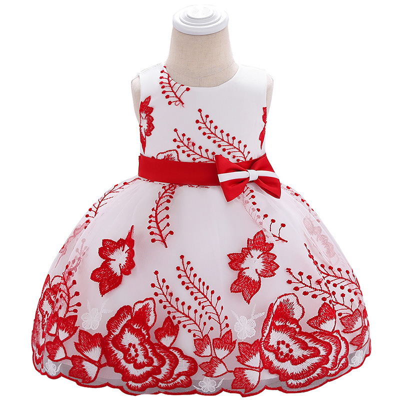 New Baby Dress  Bow Photography Costume Embroidered Flower Girl Wedding Princess Clothes