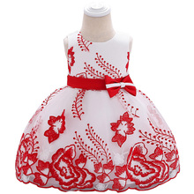 New Baby Dress  Bow Baby Photography Costume Embroidered Flower Girl Wedding Princess Dress Clothes