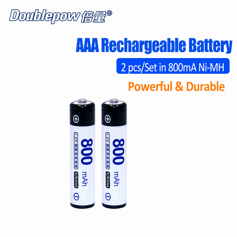 2pcs/Lot DP-AAA800mA Doublepow 1.2V AAA Ni-MH rechargeable battery in Actual High Capacity of 800mA Battery Cell FREE SHIPPING 16 pcs aa aaa rechargeable batteries ni mh aa1 2v neutral rechargeable battery free shipping