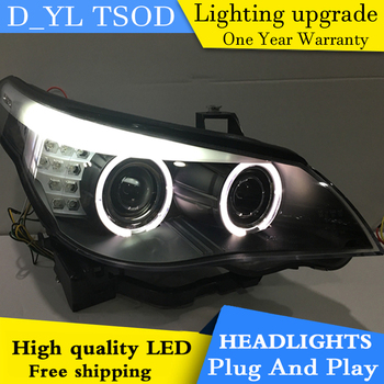 D_YL Car Styling for E60 523 530 525 Headlights 2003-2005 E60 LED Headlight DRL Bi Xenon Lens High Low Beam Parking HID Fog Lamp