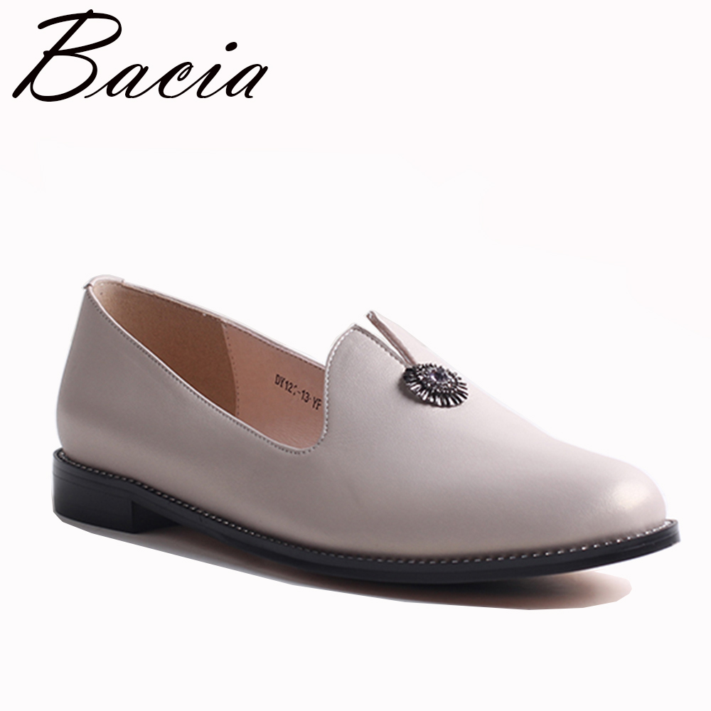 Bacia 2017 Fashion Genuine Leather Casual Loafers Shoes Flats with Hollow Out Women White Luxury Handmade Quality Shoes VXB023