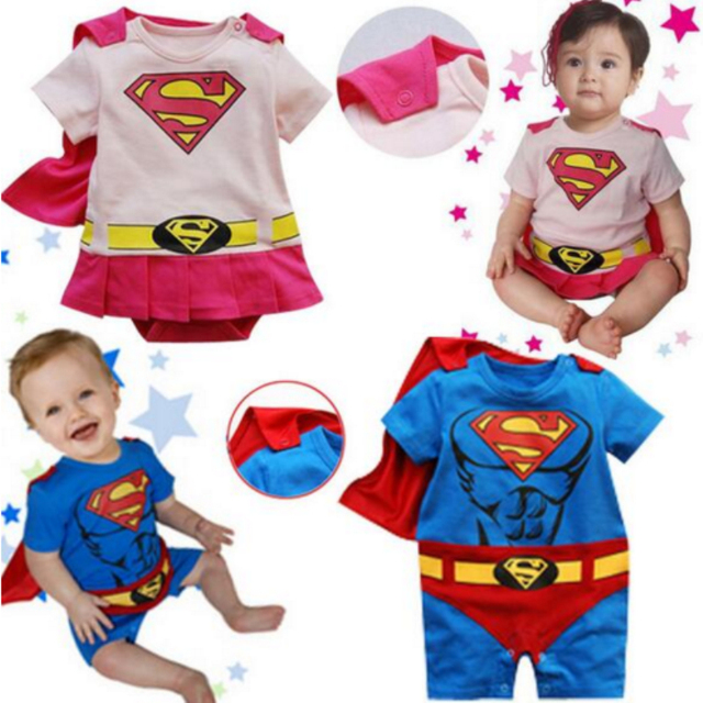 3b25125d2 Baby Cartoon Style Cosplay Superman Romper Kids Toddler Blue Pink Manteau  Jumpsuit Child O-neck Costumes Baby Cotton Clothes