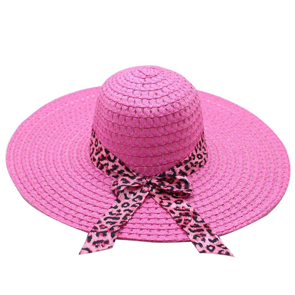 Women Sunscreen Travel Leopard Print Wide Brim Cap Bowknot Ribbon Outdoor Summer Bowler Ladies Straw Hat Fashion Foldable Beach