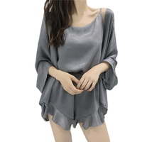 Satin Sexy Sleepwear Plus Size Summer Shorts Sleeping Wear Pijama Ropa Interior Lingerie Dress Camisa Dormir Sleep Clothes VY33