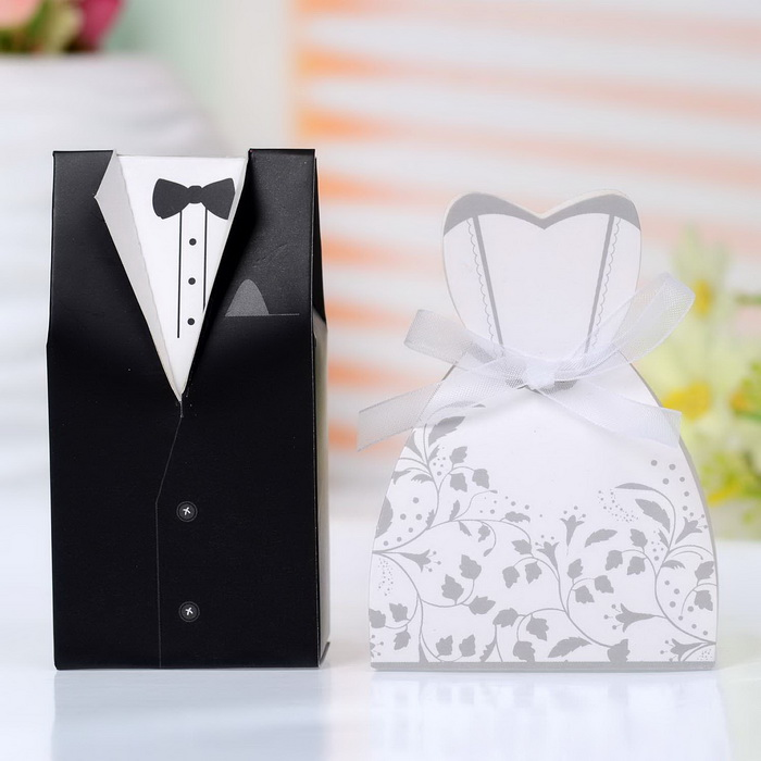 Bride Dress Groom Tuxedo Party Favor Boxes Template For Wedding Party Favors 100pcs In Gift