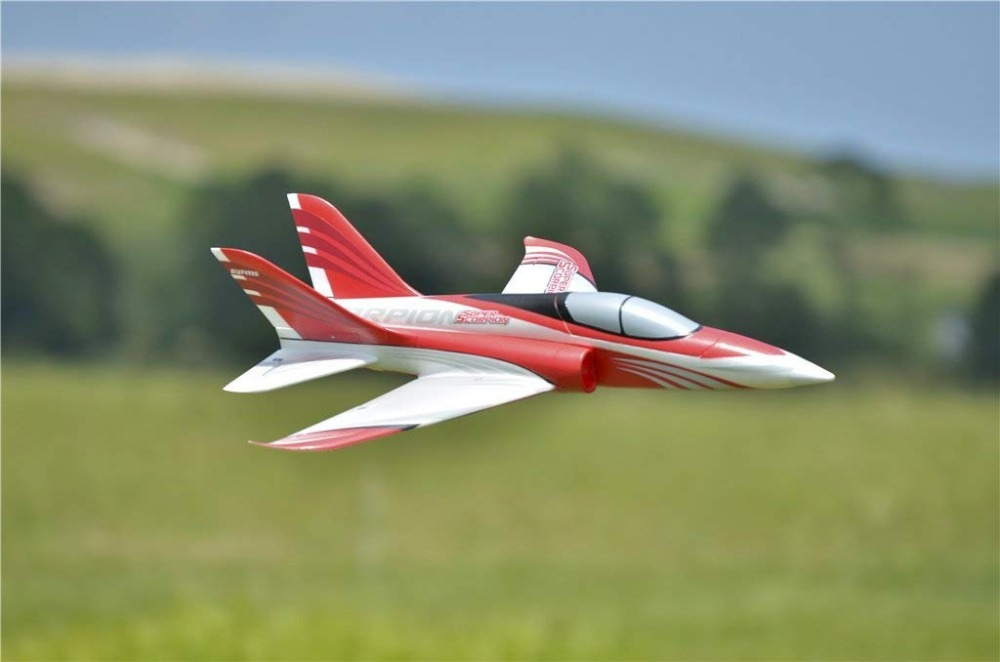FMS RC Airplane Super Scorpion 70mm Ducted Fan EDF Jet Red 4CH 4S High Speed Sports Model Plane Aircraft Avion PNP cartoon airplane style red