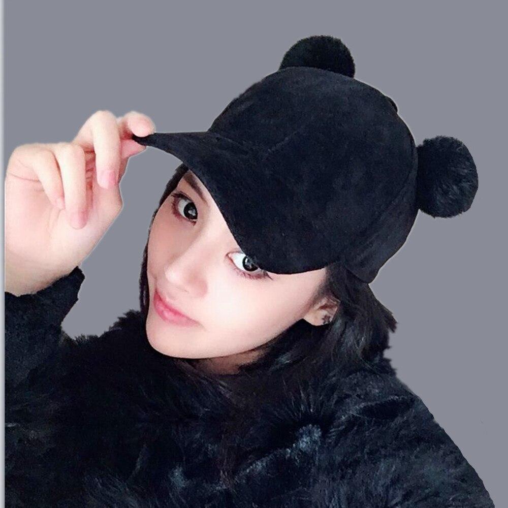 2018 new Winter pompom pink suede baseball cap Women autumn casual streetwear black cap 2017 Elegant female hat cap