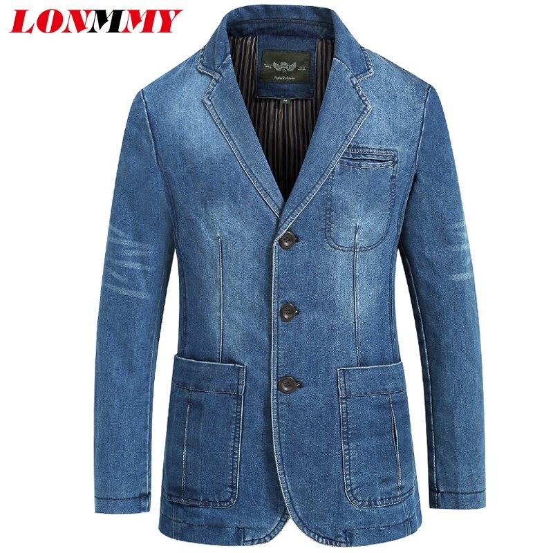 LONMMY Cowboy Blazer Jeans Jacket Men 80% Cotton Denim Jacket Men Blazer Suits For Men Jaqueta Brand-clothing Casual M-4XL