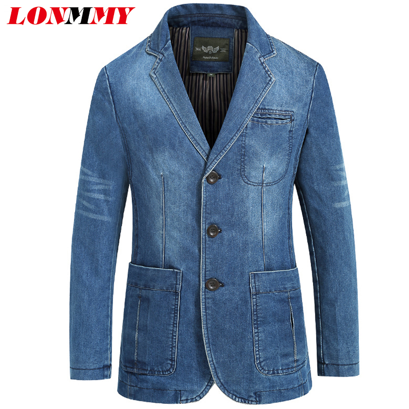 a72a05f9b1 US $40.49 18% di SCONTO LONMMY Cowboy giacca giacca di jeans da uomo 80%  Cotone giacca di Jeans degli uomini Vestiti giacca sportiva per gli uomini  di ...