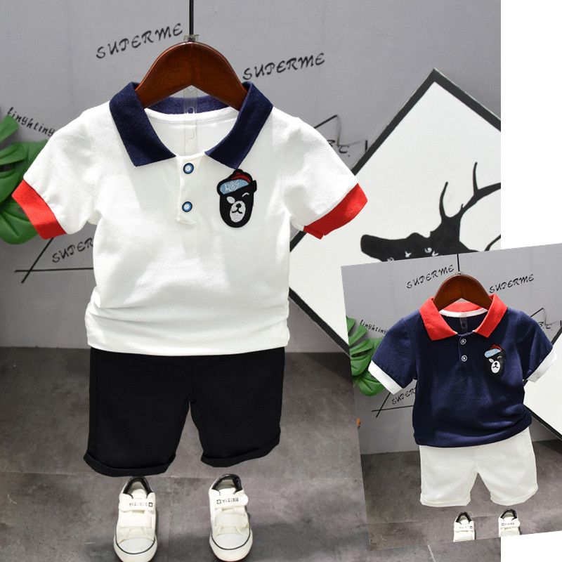 Toddler Boys Clothing Outfit Navy amp White Short Sleeve Turn down T Shirt Shorts Pants Kids Boys Summer Children 39 s Clothes Set in Clothing Sets from Mother amp Kids