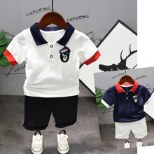 Toddler Boys Clothing Outfit Navy & White Short Sleeve Turn-down T-Shirt+ Shorts Pants Kids Boys Summer Children's Clothes Set nokotion v000185570 6050a2313501 main board for toshiba satellite l505 laptop motherboard hm55 ddr3 hd4500 discrete graphics