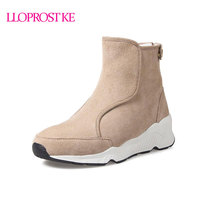 Lloprost Ke Ankle Boots Women Boots Winter Warm Plush Three Color Platform Size 34 41 Zipper