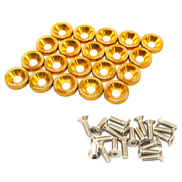 GOLD 20 PCS BILLET ALUMINUM FENDER/BUMPER WASHER/BOLT ENGINE BAY DRESS UP KIT