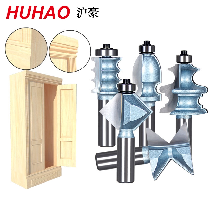 5PCS/SET Woodworking Tools Router Bit Table Edge Bit CNC Door Knife Wood Processing 1/2 SHK - HUHAO tungsten alloy steel woodworking router bit buddha beads ball knife beads tools fresas para cnc freze ucu wooden beads drill