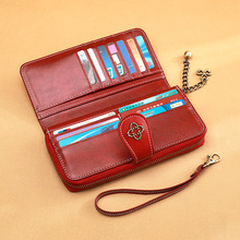 цены AOEO Luxury Women Wallets Wristlet Ladies Purse Long Money Clutch Bags Girls 13 Cards Pocket Oil Wax Leather Phone Wallet Female