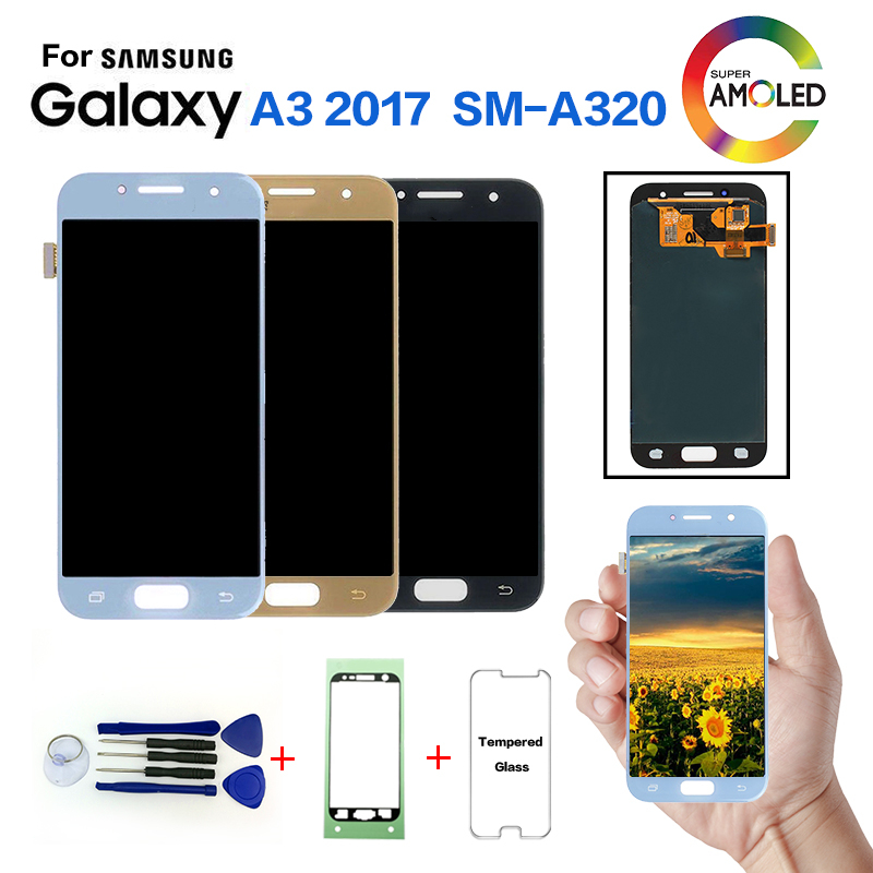 AMOLED pour SAMSUNG Galaxy A3 2017 A320 SM-A320F remplacement d'écran d'affichage à cristaux liquides pour Samsung SM-A320FL A320Y module d'affichage à cristaux liquides