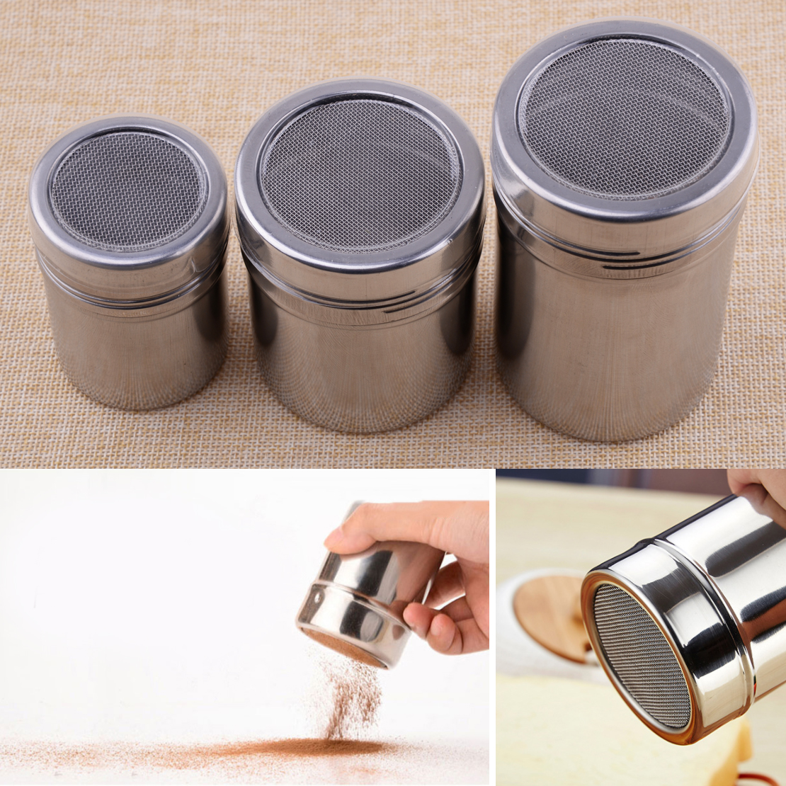 New Stainless Steel Mesh Flour Sifter Icing Sugar Dredger Chocolate Powder Shaker Coffee