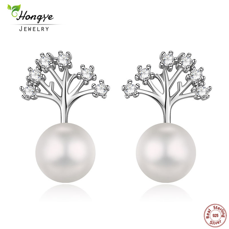 Hongye Classic 925 Sterling Silver Tree of Life Naturliga Pearl Bridal Stud Örhängen För Bröllop Kvinnor Accessory Party Smycken
