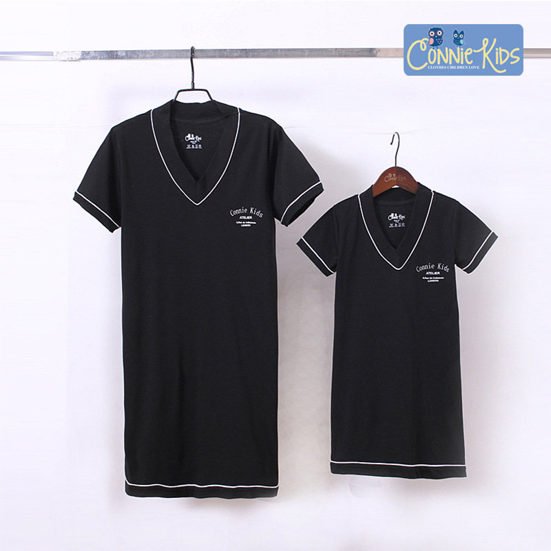 Family Matching Clothes Mom and Mini Me Dress Shirts Female Short-sleeved T-shirt for A Young Girl's Tees Mama Bebes Pajamas