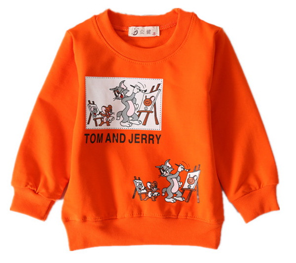 2017 spring boys clothes 100% Cotton kids baby boys long sleeve t-shirt top children t shirts casual boy Cartoon Tom and Jerry