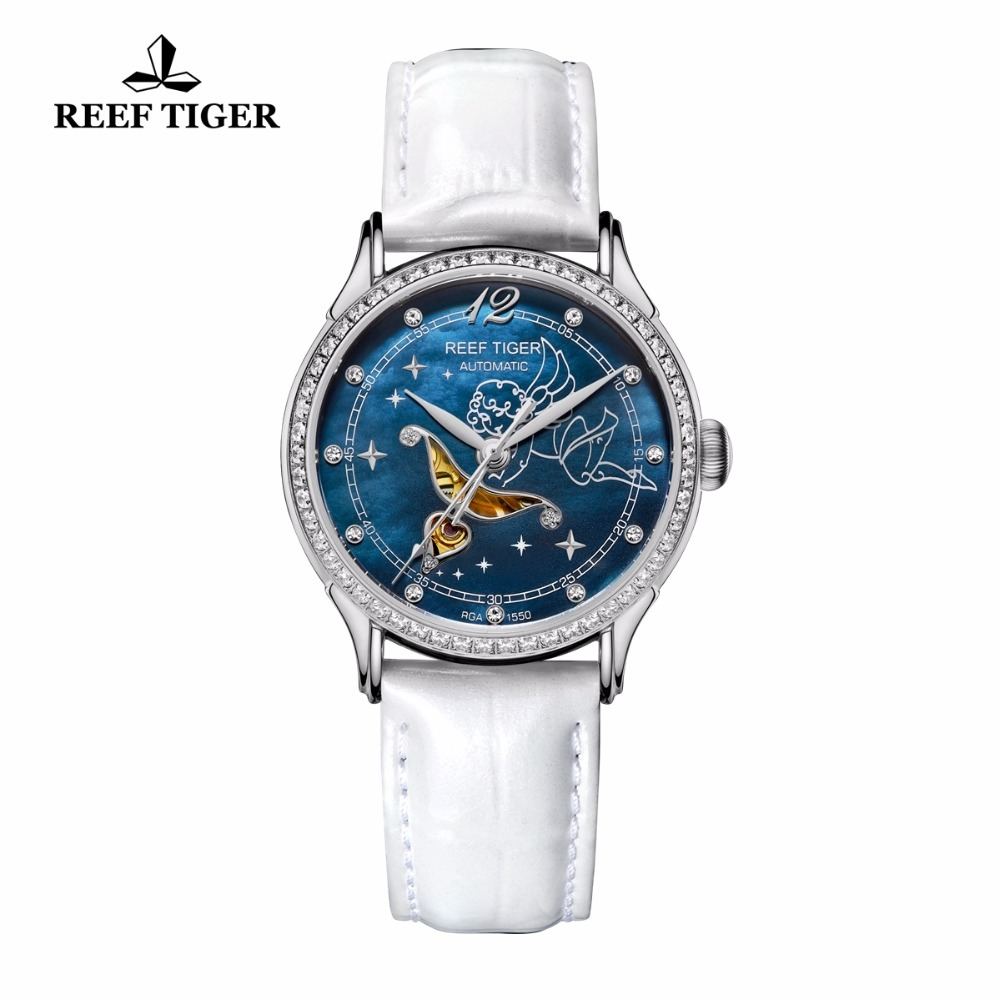 New Reef Tiger/RT Fashion Womens Watches Diamonds Ladies Watches Blue Dial Stainless Steel Watches for Lover RGA1550 yn e3 rt ttl radio trigger speedlite transmitter as st e3 rt for canon 600ex rt new arrival