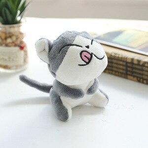 Image 3 - 4 tasarımlar 9 cm Kedi Peluş Doldurulmuş bebek oyuncak Anahtar halkalı anahtarlık Peluş Kedi Bebek Hediye Kızlar için