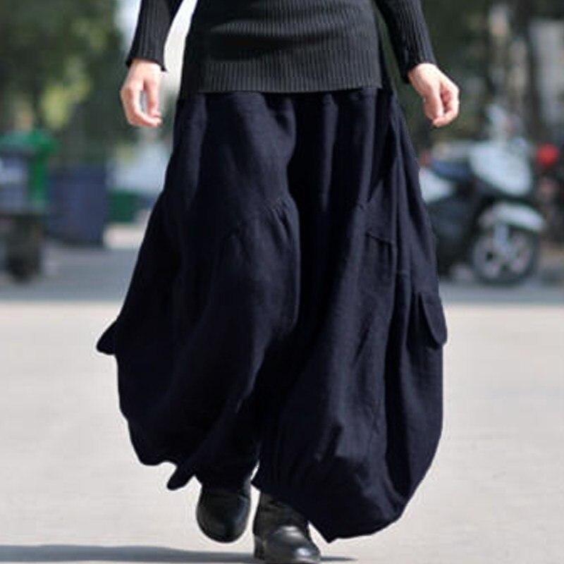 ZANZEA Women High Elastic Waist Lantern Pantalon Loose Baggy Pockets Cargo Pants Solid Cotton Linen Long Wide Leg Trousers