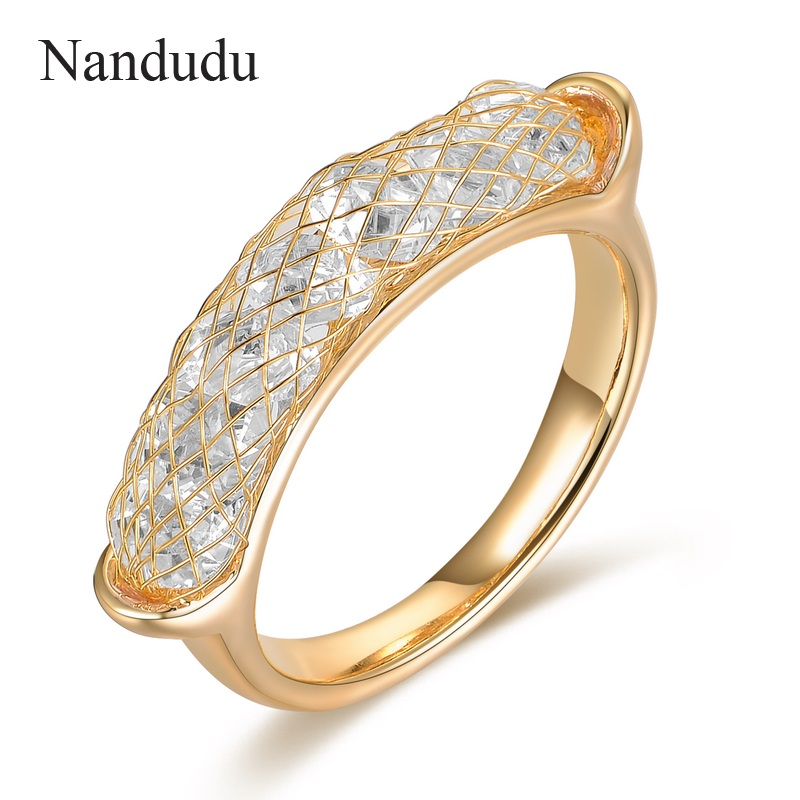 Nandudu Wire Mesh Austrian Crystal Net Ring Women Party Cocktail Ring New Style Fashion Jewelry
