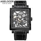 ①  Agelocer Top Luxury Все черные светящиеся автоматические мужские часы Skeleton Power Reserve наручны ✔
