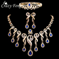 4 Pcs Nupcial Do Casamento Conjuntos de Jóias de Luxo Banhado A Ouro Cristais Pedra de Gema Azul Gota de Água Beads Tassel Bib Declaração Colar