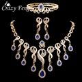4 Unids de Lujo Nupcial de La Boda set de Joyas de Oro Chapado En Piedra de la Gema Azul Cristales Perlas Gota de Agua Collar de la Declaración Del Babero de La Borla