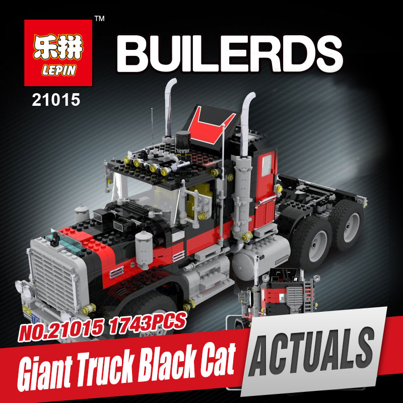 Lepin 21015 1743Pcs Creative Series The American Black Cat Truck Set Educational Building Blocks Bricks Children Toys Gift 5571