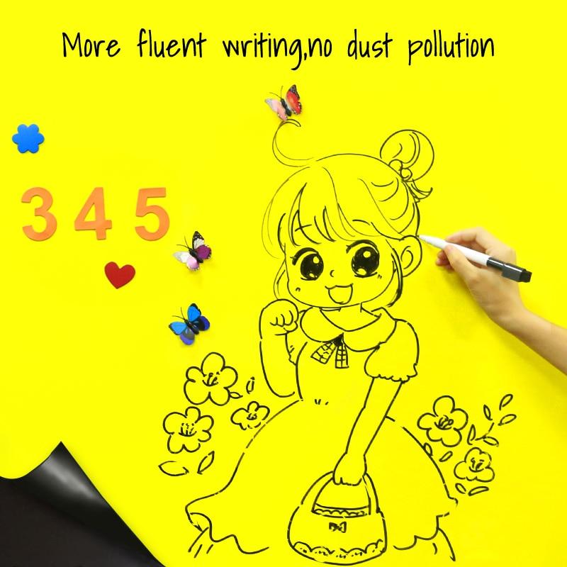 Сделай Сам, доска для записей, сухая салфетка, железные магниты для рисования сообщений, граффити, обучающая желтая доска, наклейки на стену для дома и школы - 2