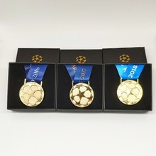 2016-2018 RM Three-peat Europe Soccer Champions League Gold Medals Set Replica Fans Limited Version Gift Box Collection Souvenir