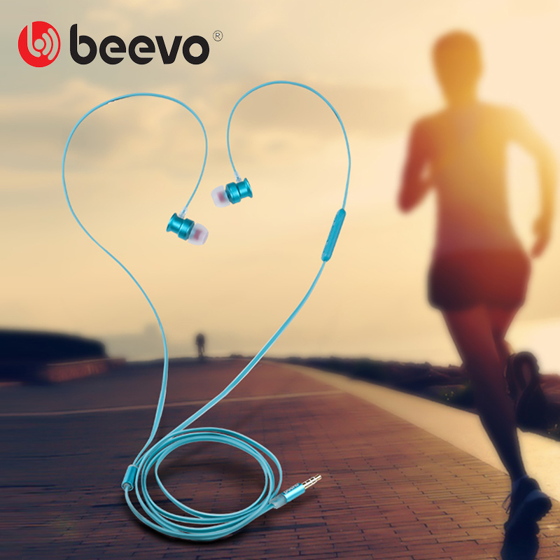 Beevo EM270 Sport Earphone and Headphones with MIC Volume Control Wire Stylish Metal Best Sound Running Auriculares 3.5mm Gold