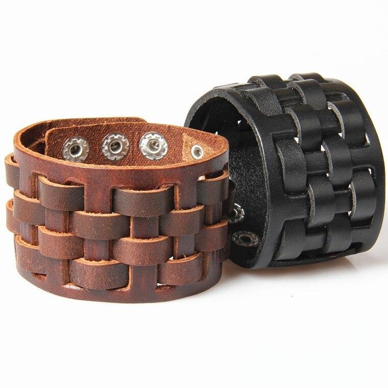 New Vintage Punk Wide Cow Genuine Leather Bracelets Men Women Handmade Cross Woven Square Cuff Bracelet Jewelry for Male Female