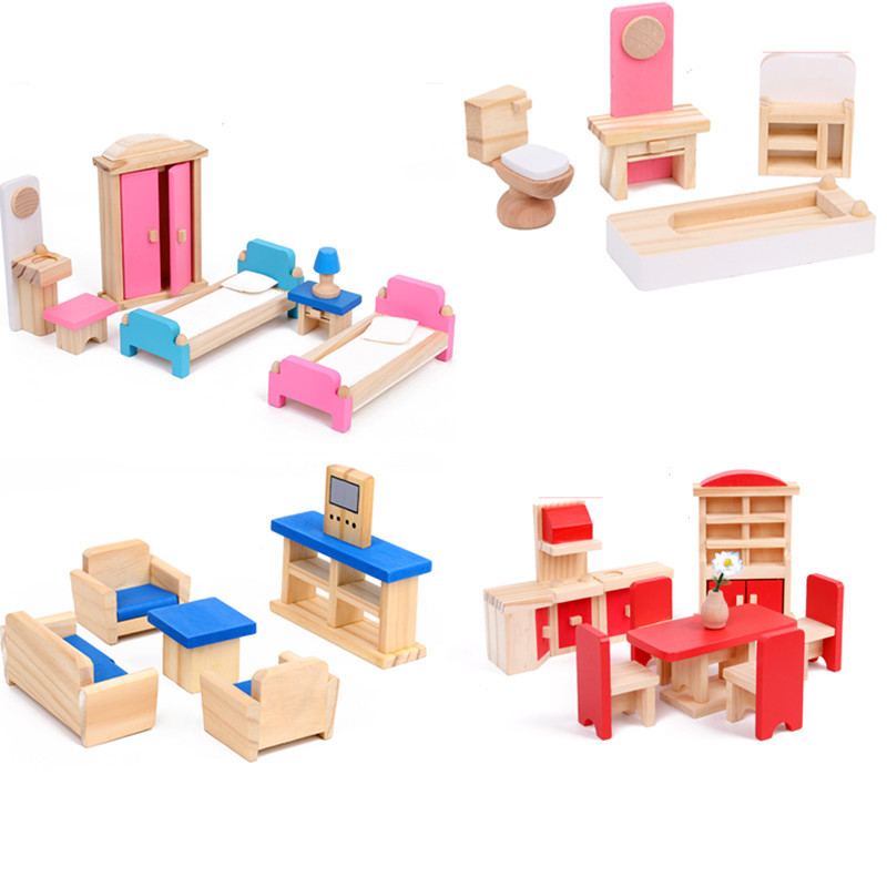 Image 4 - Miniature Furniture for dolls house Wooden dollhouse Furniture sets Educational Pretend Play toys Children kids girls gifts-in Furniture Toys from Toys & Hobbies