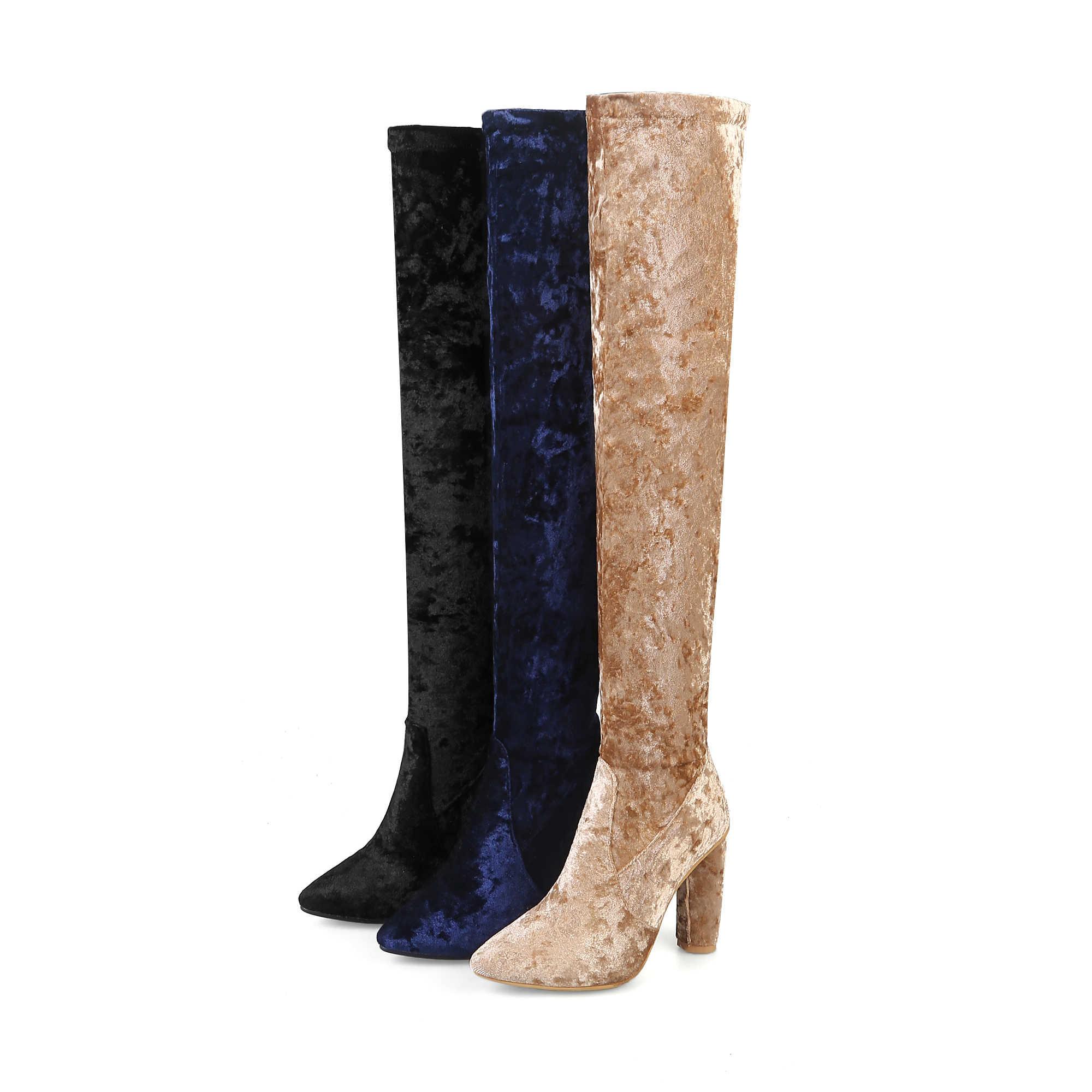 Bej Siyah Sivri burun Blok Topuk Uyluk Botlar Kadın Moda Kış Diz Çizmeler üzerinde Bayanlar Parti Streç Çizmeler Uzun çizmeler