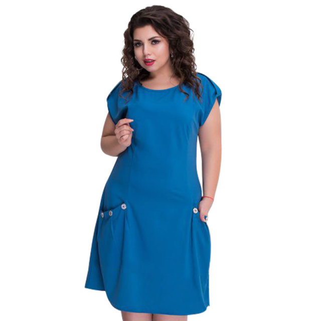 6a6c3a10f94 Loose Beach Dress Casual Summer Dress With Big Pockets Plus Size Women  Dress Short Sleeve Blue