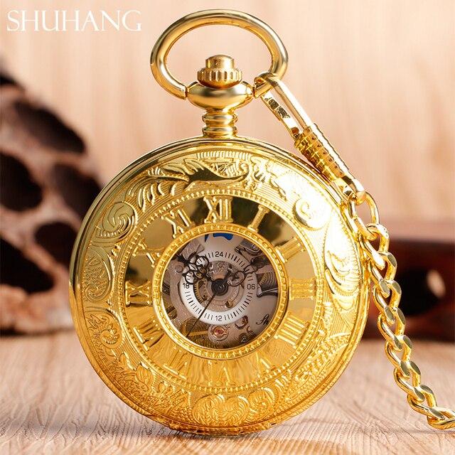 7e162d89d1c SHUHANG Antigo Do Vintage Relógio de Bolso de Ouro Correntes de Vento Mão  Relógio Mecânico Oco