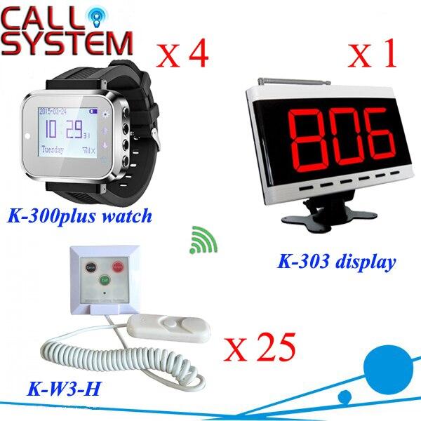 Reloj de la enfermera del hospital sistema de llamada de buscapersonas Panel Display + 4 relojes + 25 pulse el botón de Llamada botón de cable; llamada; de emergencia; cancelar