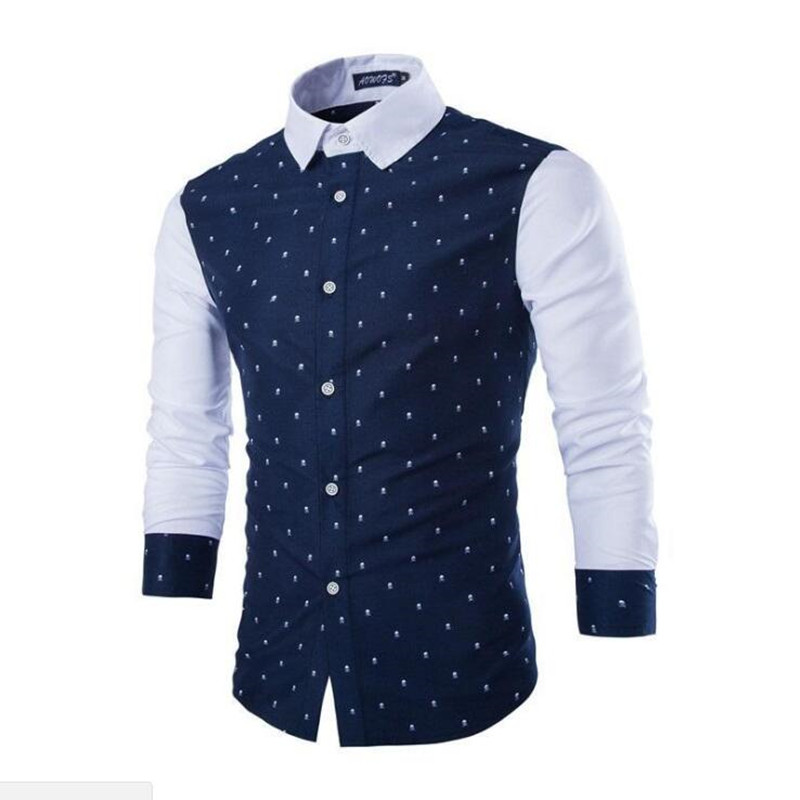 Mens Dress Shirts Long Sleeve Plus Size Cotton Skull Prints Casual Slim Fit Fashion Summerwear Shirts For Male Clothing M-2xl