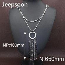 0c14dc66c24d Jeepsoon moda de plata de color de acero inoxidable joyería para mujer  650mm cadena larga suéter alta calidad más nueva neizacbd