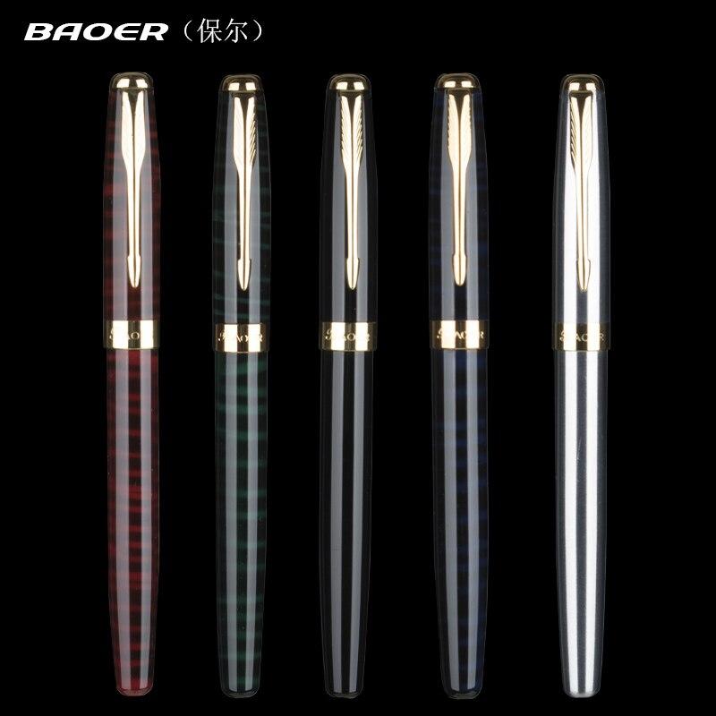 Baoer 388 Luxury Gold Clip Fountain Pen Mix Colors 0.5mm Nib Metal Ink Pens Set for Christmas Gift