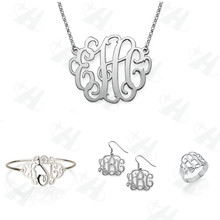 Custom Jewelry Sets Silver Monogram Fashion African Set, Bridesmaid Gift, Celebrity for Anniversary