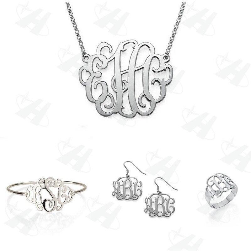 Ensembles de bijoux personnalisés ensembles de bijoux monogramme en argent ensemble de bijoux africains de mode, cadeau de demoiselle d'honneur, bijoux de célébrité pour anniversaire